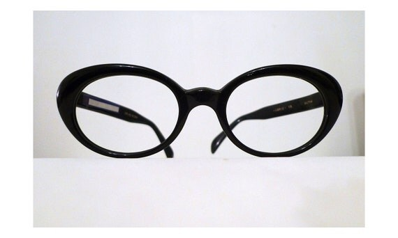 RESERVED Expanded Black Horn Rimmed Cat Eye Eyeglasses Frame, Bubble Mod Cats or Sunglasses. Rodenstock