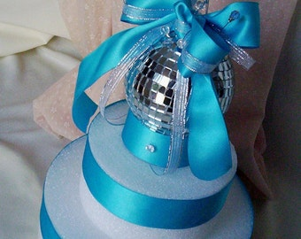 Mirror Ball Cake Topper Disco Birthday Parties Turquoise bridal accessories New Years Weddings festive decoration Anniversaries