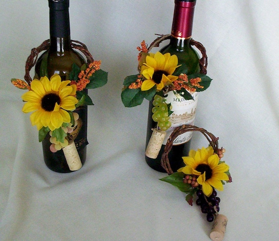 Flower Arrangements In Wine Bottles: Sunflower Bridal Centerpieces Wine Toppers AmoreBride Summer