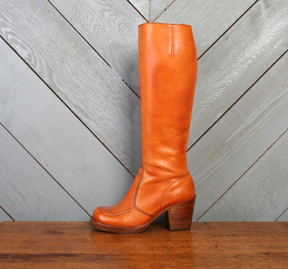 Vintage 70s LEATHER BOOTS / Tall Burnt Orange Boho Stack Heels, 6