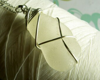 Spiraling Out Of Control - white seaglass necklace / recycled necklace / sea glass necklace / beachglass necklace / beach wedding