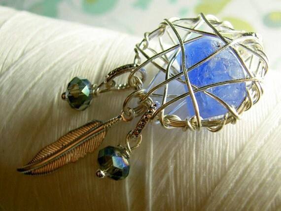Dream Catcher - cobalt silver - genunine seaglass necklace