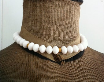 Vintage White Plastic Necklace Choker with Gold Spacer Beads