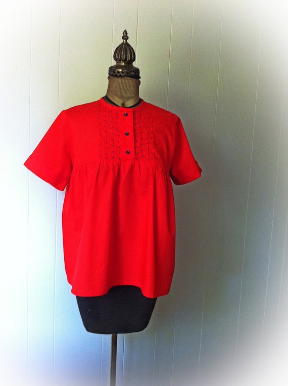 Vintage Red Maternity Blouse