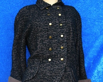 Vintage 40s 50s 1940s Ranone Miron Double Breasted Wool Suit Jacket Coat Chic Designer Large