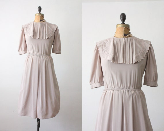 70s dress - vintage 1970's silky grey dress