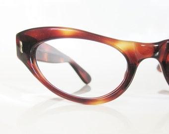 SALE Vintage 1950s Eyeglasses Cat Eye Glasses 50s Sunglasses Mod Mad Men Chic Chocolate Tortoiseshell Nos New Old Stock