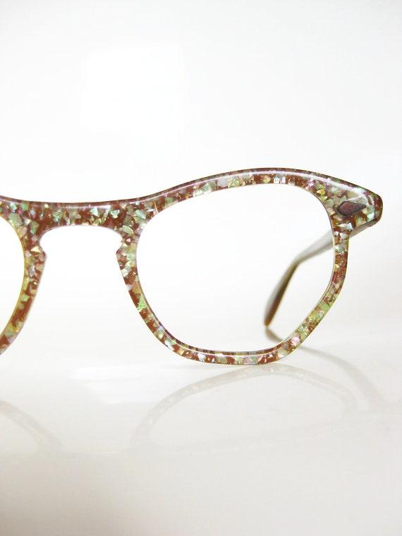 Gold Glitter Glasses Frames : Vintage HOLOGRAPHIC Cat Eye Glasses NOS New Old Stock 1960s