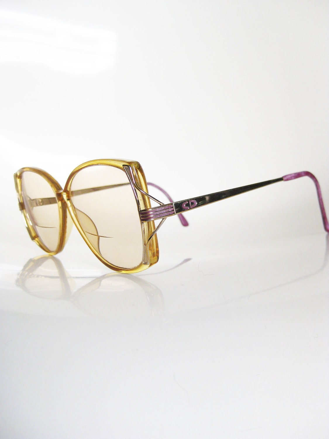 Vintage DIOR Yellow OVERSIZED 1970s Eyeglasses by ...