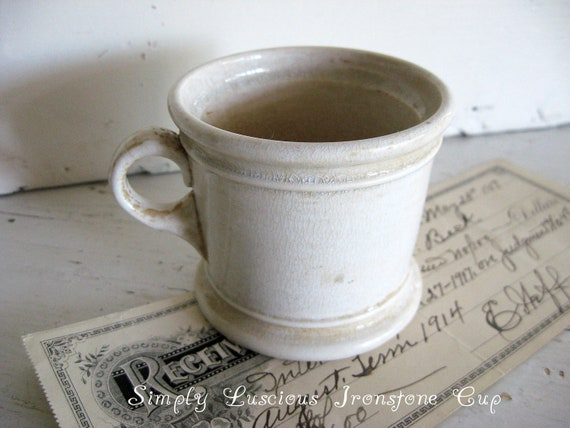 Antique White Ironstone Cup - Mug - Circa 1800's - N.J. Pottery Co. - So Farmhouse Chic