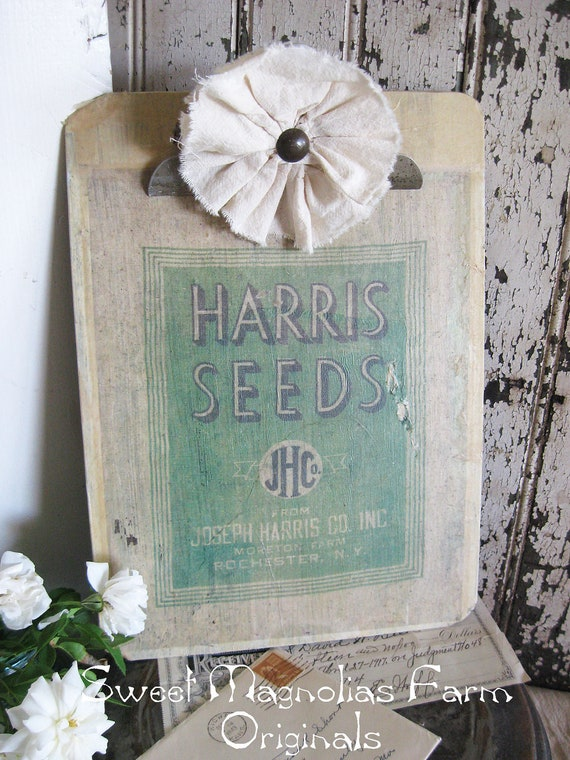 Vintage Clip Board - Upcycled with 1900's Vintage Feed Seed Sack - Farmhouse Chic -