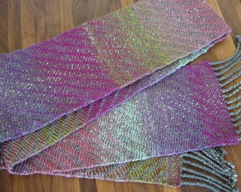Handwoven Lavender, Pink, Light Blue, and Leaf Green Scarf