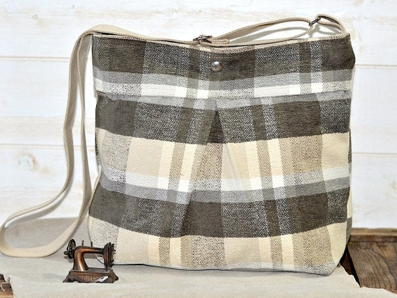 READY TO SHIP // Waterproof Amy Medium chic diaper bag in charcoal plaid upholstery Last one