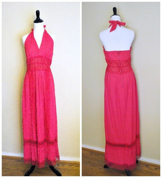 1970s Maxi Halter Dress with Crochet Trim/ Hot Pink Floor Length Sundress/ Size Small to Medium
