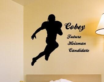 Heisman Candidate Personalized Vinyl Wall Decal, Football, Boys Room, Pop Warner