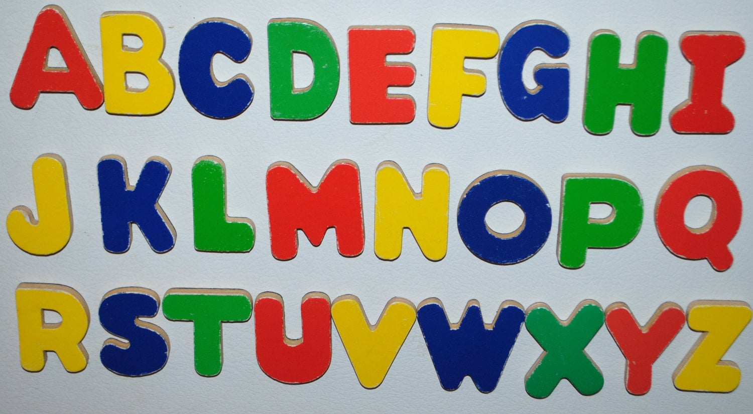 vintage assorted abc alphabet magnetic wood letters set lot zoom