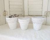 Three White Flower Pots