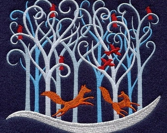 Filigree Christmas Forest (Foxes) - Embroidered Terry Kitchen Bathroom Hand Towel