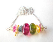 Tourmaline quartz gemstone necklace multicolor beaded stack bar necklace silver chain hot pink green yellow beads