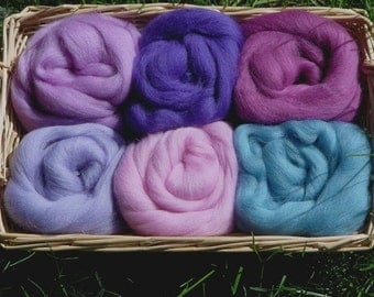 Merino Wool Pallettes - violet, blue, pink,