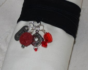 Silk Wrap Bracelet with charms, a red chinese token - silver love charm - red crystals, a wrap around, wrist wrap