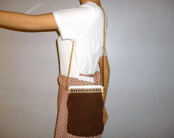 Easily Purse SUEDE-ED - Vintage 1960's - Chocolate Brown - SUEDE - Gold Tone Metal - Ornate Framed - Boho - Bag - Pouch -  9 x 7 x .5