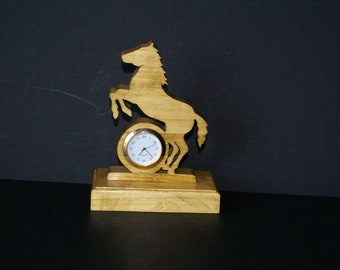 Wild Stallion Horse  Wood Scroll Saw Desk Clock