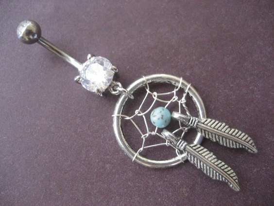 Belly Button Ring Jewelry Turquoise Dream Catcher by ... Dreamcatcher Belly Button Piercing