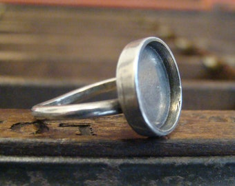 One Dozen (12) Adjustable Ring Blanks - Handmade Pewter - 15mm Bezel Cup - Antique Silver Finish