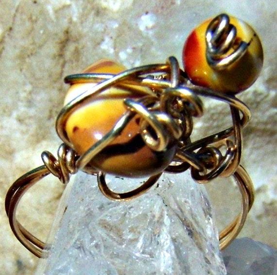 Moukaite Jasper Ring 14 Karat Ring Wire Wrap Stone Ring Direct Checkout