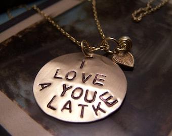 I Love You a Latke Necklace Brass Version  Hanukkah