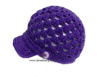 Crochet pattern newsboy  cap hat PDF n3