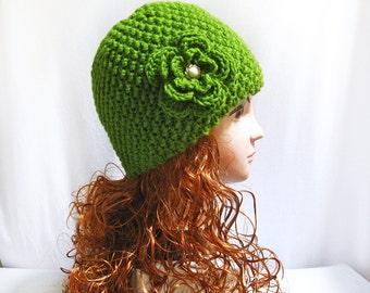 Knitting pattern beanie hat hand knit with flower, hat pattern n35