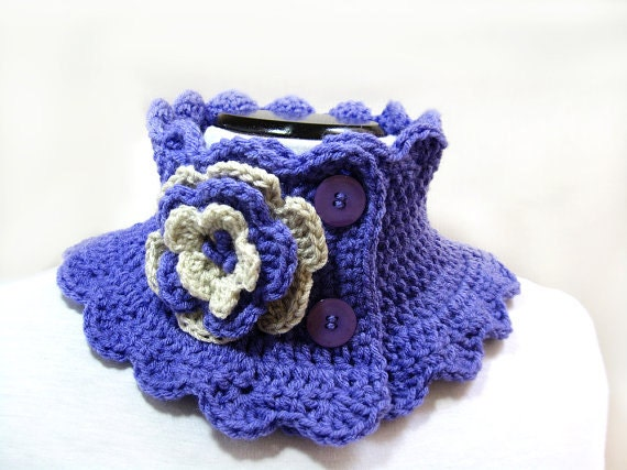 Knitting Patterns For Collar Scarf : Items similar to Knit Scarf Neck Warmer Collar lilac Victorian Steam punk on ...