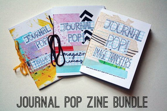 Journal POP Zine Bundle : Issues 1-3 , Tissue Paper, Magazine Images & Image Transfers