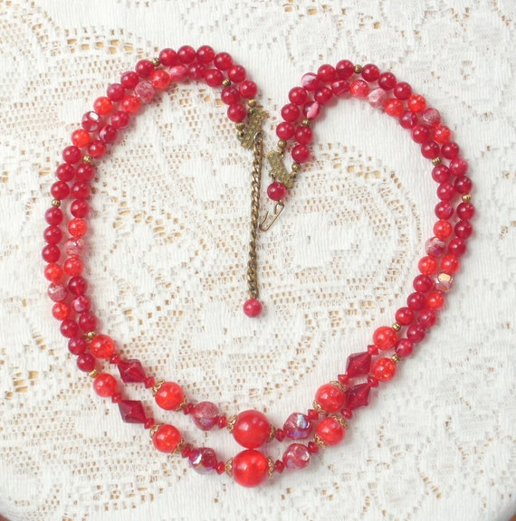 Luscious Vintage Red Beaded Necklace