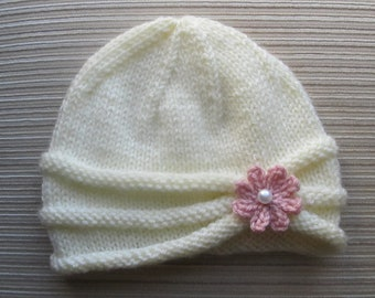 Instant Download Knitting Pattern # 86 Girls Hat with Rolled Brim and a Flower in sizes 6-9 months and 2-4 years
