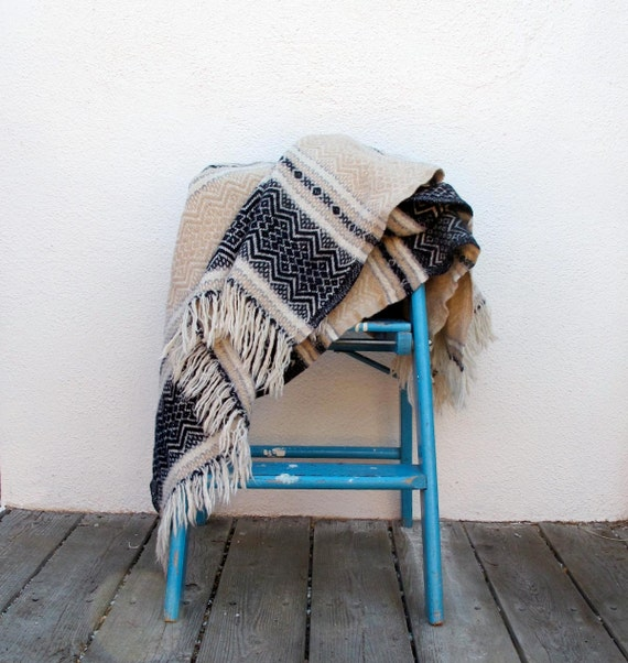 Vintage Wool Blanket, Woodland Cottage Blanket, Faribo Beige Brown Black, Lap or Stadium size