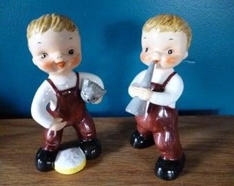 Set of 2 Little Boy Figurines, Kitten and Horn