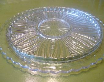 Mid Century Pressed Glass Relish Tray