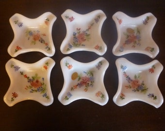 SALE Set of 6 Consolidated Milk Glass Hand Painted Individual Ashtrays, Sauce Dishes, Trinket Dishes, Vanity Dishes