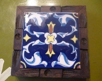 Vintage DAL TILE Ceramic Tile Blue and Yellow Trivet With Wooden Frame