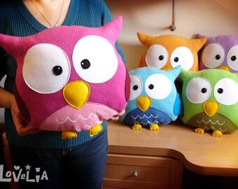 PINK OWL CUSHION RainbOWL -Decorative plush pillow -