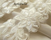 "Embroidered Bridal Lace IVORY 2.1/4"" wide"