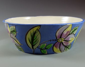 Handmade Pottery Blue bowl with lilac flowers. Serving Bowl, Functional and Decorative Clay Bowl. SKU1210-1
