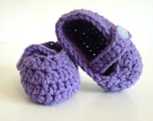 Crochet Baby Mary Janes in Purple for Baby Girls