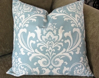 ONE Decorative Pillow Cover, 18 x 18, Village Blue and Cream, Osborne print