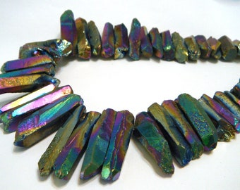 Natural rock crystal points druzy type titanium coated RAINBOW color