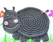 Crochet Hippo Coaster (1 piece), hippopotamus