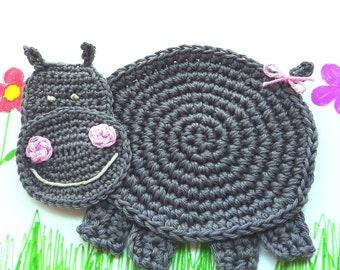 Hippo Applique - Hippo Nursery Decor - Crochet Hippo Coaster - Animal Coaster- Hippopotamus Drink Coaster - Baby Shower Gift - Gift under 20